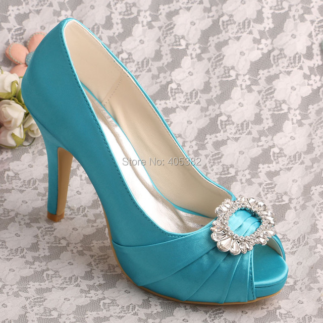 Wedopus New Women's Prom Pumps Aqua Blue Platform Stiletto Heel Rhinestones Peep Toe Evening Shoes