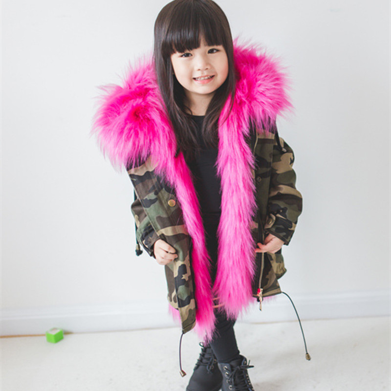 Boys Girls Winter Parka Children Long Faux Fox Fur Warm Jacket Girls Removable Luxry Leather Hooded Outecoat D0364 flap pockets hooded faux leather jacket