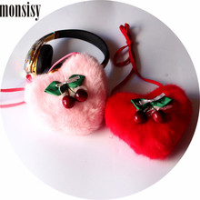 Monsisy Winter Faux Fur font b Bag b font For Girl Handbag Children Wallet Kawaii Cherry