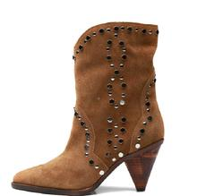 Hot Fashion Sexy Winter/autumn Brown Kid-Suede Mid-calf Shoes Slip-On Pointed Toe Womens Spike Heels Rivet Ladies Boots