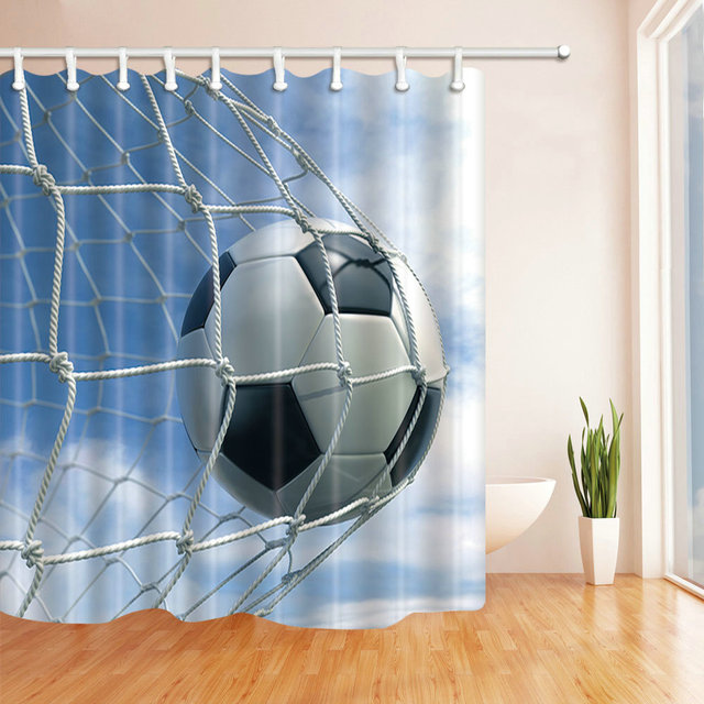 Simple Landscape Blue Sky And White Clouds Football Shot Shower Curtain Multi Function Waterproof Antibacterial Polyester