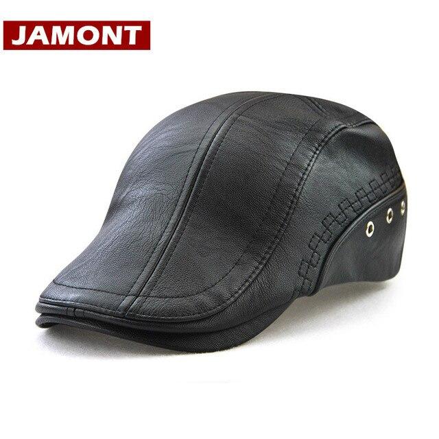 JAMONT  2018 nuevo sombrero de invierno visores gorra de cuero PU boina  sombreros de d896d52910c