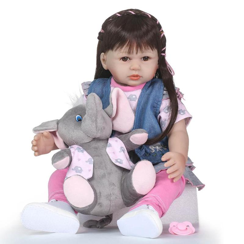 Soft Silicone Reborn Baby Dolls Vinyl Big Dolls For Girls 3-7 Years Old Baby Dolls With Clothes Baby Accompany Toy kawaii baby dolls