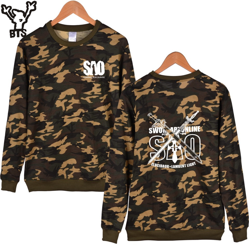 BTS Sword Art Online Anime Camouflage Capless Hoodies And Sweatshirts For Couples Classic Japan Cartoon Hoodies Boys 4XL Clothes