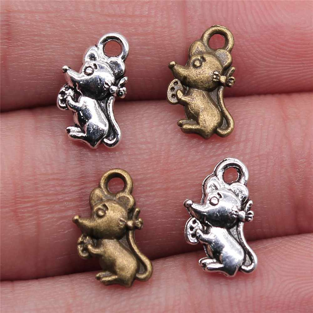 WYSIWYG 20pcs 12x7mm Pendant Small Mouse Cute Rat Charm Pendants For Jewelry Making Antique Silver Mouse Pendants