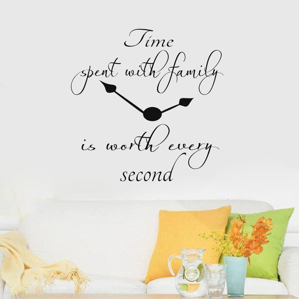 Time spent with family is worth every quote clock lettering vinyl wall stickers