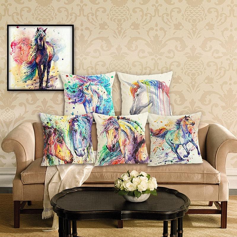 RECOLOUR  Cartoon Horse Printed Linen Cotton 45x45cm living room Decor cover cushion Houseware Throw Pillows Cojines Almohadas