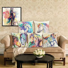 RECOLOUR  Cartoon Horse Printed Linen Cotton 45x45cm living room Decor cover cushion Houseware Throw Pillows Cojines Almohadas