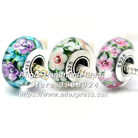 3pcs S925 Sterling Silver Core Colorful Flowers Murano Glass Beads Fit European Charms Bracelet Necklace Jewelry Making