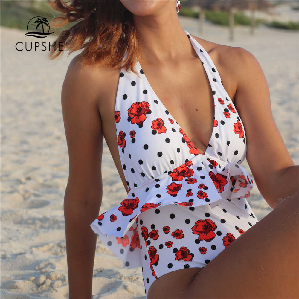 0d12ea6c66a ... CUPSHE Polka Dot And Red Poppy Print Ruffle One-piece Swimsuit Women  Tied Bow Halter