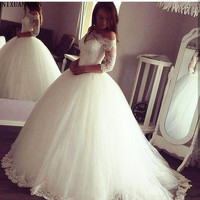 2019 Arabic Princess Ball Gown Wedding Dresses Sheer Neck 3/4 Sleeve Off the shoulder Sweep Train Lace Up Plus Size Bridal Gown