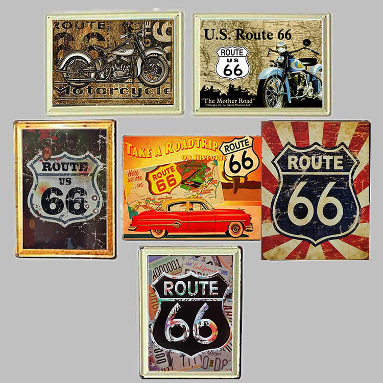Route 66 Red Vintage Retro Style Metal Sign Mancave Garage Shed USA