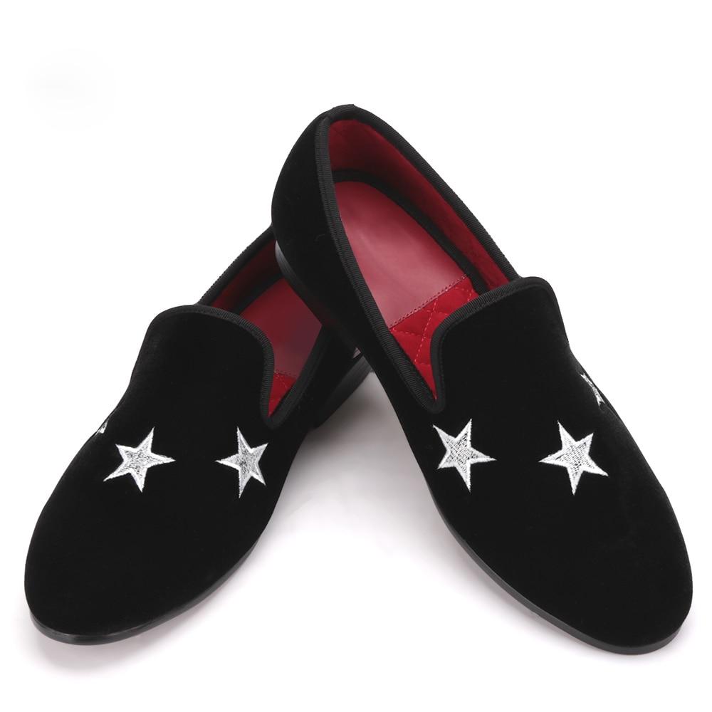 Casamento Vestido E Estrela Handmade Mocassins Veludo Preto Sapatos Do Dos De Com Homens Festa Sapatas Chinelos wqq1BxAO