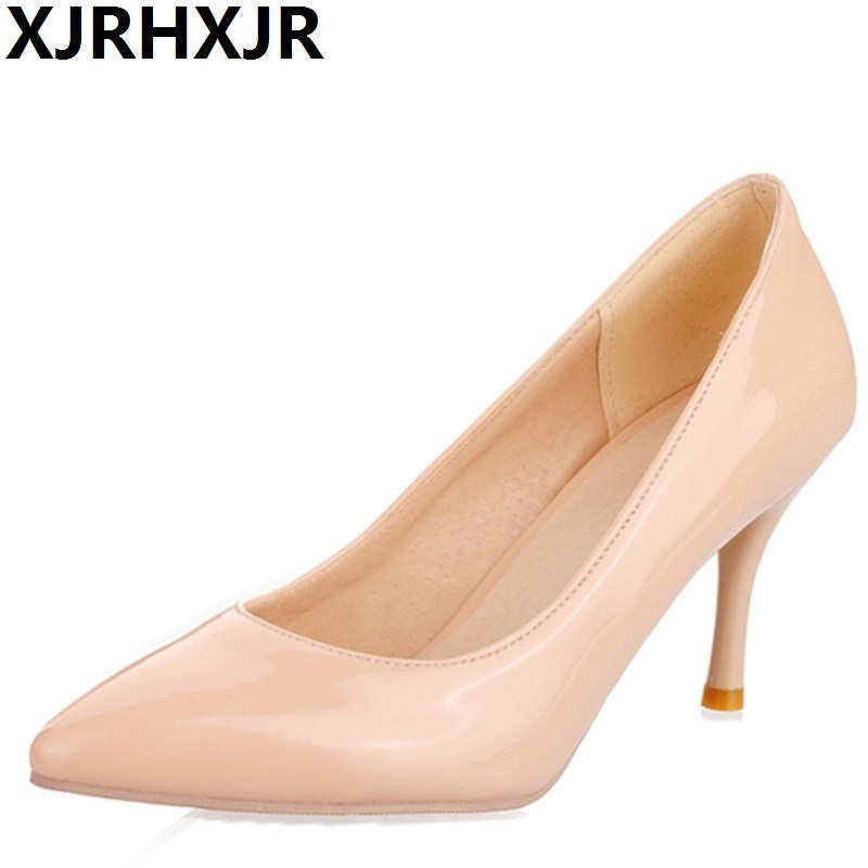 XJRHXJR Spring Summer Thin Heels Patent Leather High-heeled Single Shoes Women Pumps Fashion Pointed Toe Shoes Large Size 30-47 p23128 women patent leather thin heel pumps elegant pointed head stiletto fashion simple style ladies heeled shoes size 33 42