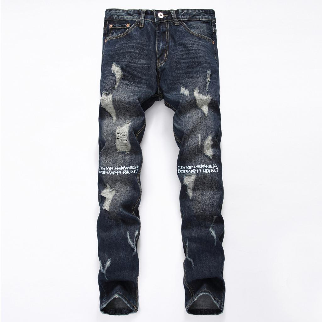 2017 New Fashion Mens Designer Ripped Jeans Cotton Demin Jean Trousers Letter Printed Famous Brand Blue Colour Size 28 To 38 цены онлайн