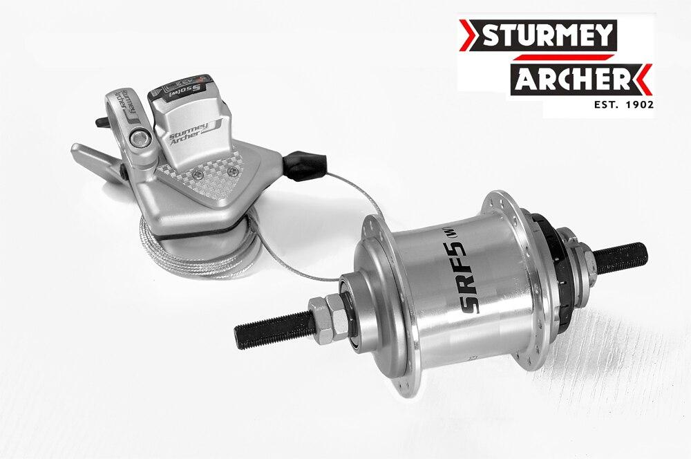 Sturmey archer SRF5 (W) moyeu arrière de vélo à 5 vitesses à engrenages internes 28 H 110mm avec levier de manette de vitesse adapté au vélo pliant
