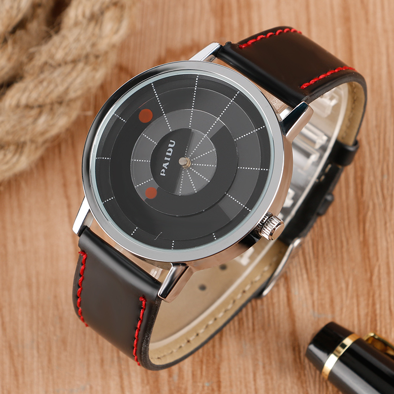 Hot Sale Creative Black Dial Two Red Point Men Wristwatch Unique Turntable Leather Band Strap Women's Quartz Watch гарнитура creative ma 200 red black