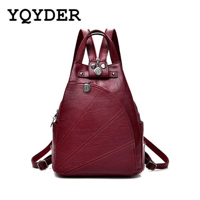 93fb1d15bf Fashion Leisure Women Backpacks Women s PU Leather Backpacks Female school Shoulder  bags for teenage girls Travel Back pack