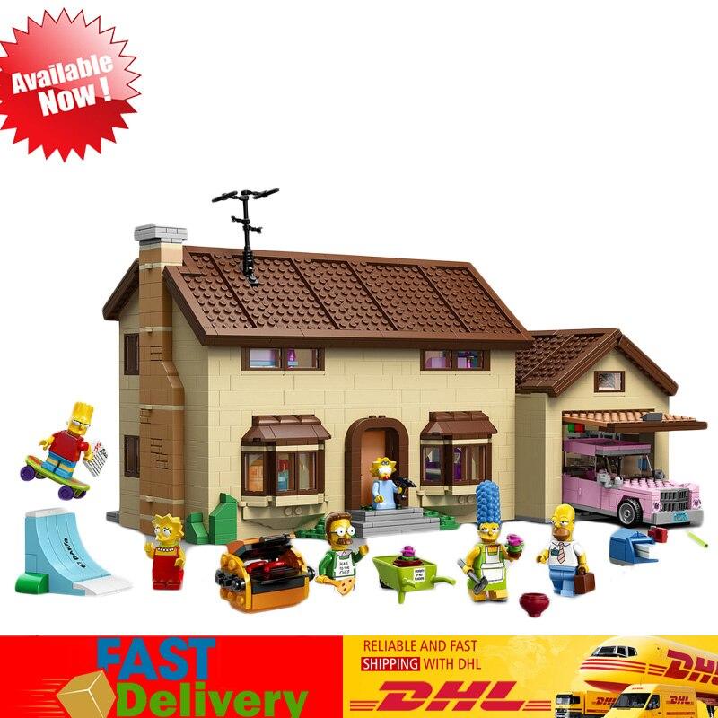 Lepin 16005 2575Pcs The Simpson's Family House Set Model Building Blocks Bricks Kids Educational Toy Compatible LegoINGlys 71006 lepin movie figures 16005 2575pcs the simpsons house model building kits blocks bricks educational kid toy compatible with 71006