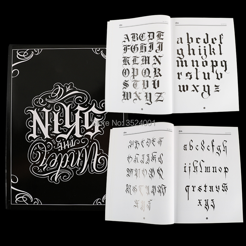 a4 tattoo book black sexy skull design sketch flash book tattoo flash sketchbook A4 Chicano Calligraphy Font Lettering Tattoo Book Writing Design Pattern Template Design Tattoo Flash Book
