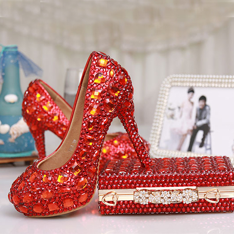 Luxury High Heels Red Crystal Bridal Wedding Dress Shoes Party Evening Dress Shoes Formal Shoes with Matching Crystal Clutch Bag something red wedding shoes customized sparkly diamond red high heels platfrom party evening shoes italian shoes and bag set