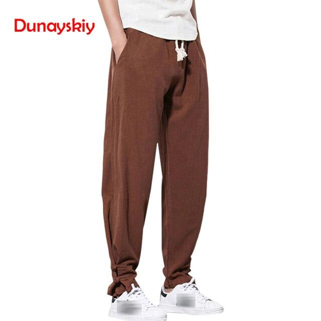 0ec65b52171 2018 Autumn Harem Pants Men Pure Linen Pants Drawstring Flax Hemp Trousers  Hip Hop Loose Vintage long Pants Casual Joggers