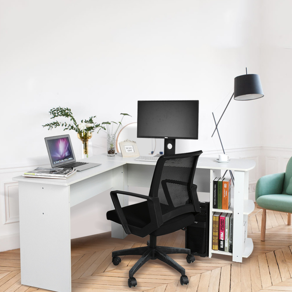 Wooden Office Computer Writing Desk Utility Home Gaming PC Furnitur L-Shape Corner Study Computer Table With Book Shelf