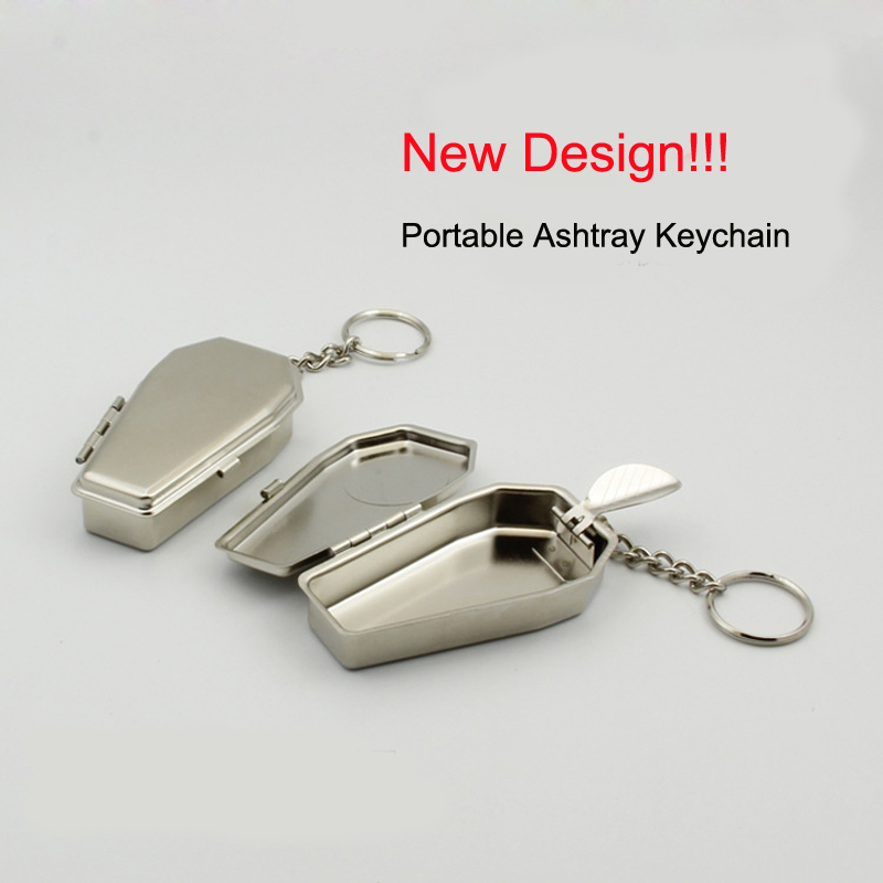 Car Creative Ashtray Ash Coffins Tabut Shape Portable Ashtray Metal Keychain With Button