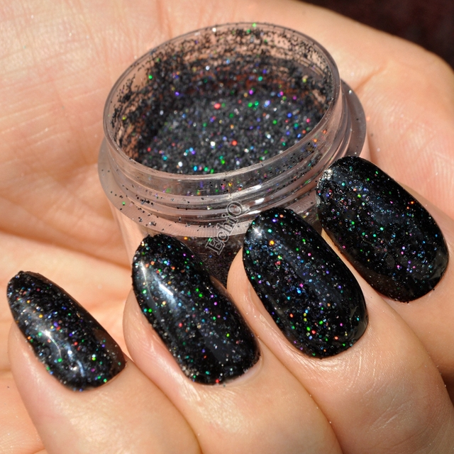 Holographic Black Glitter Powder Laser Nail Art Powder Shiny DIY UV ...