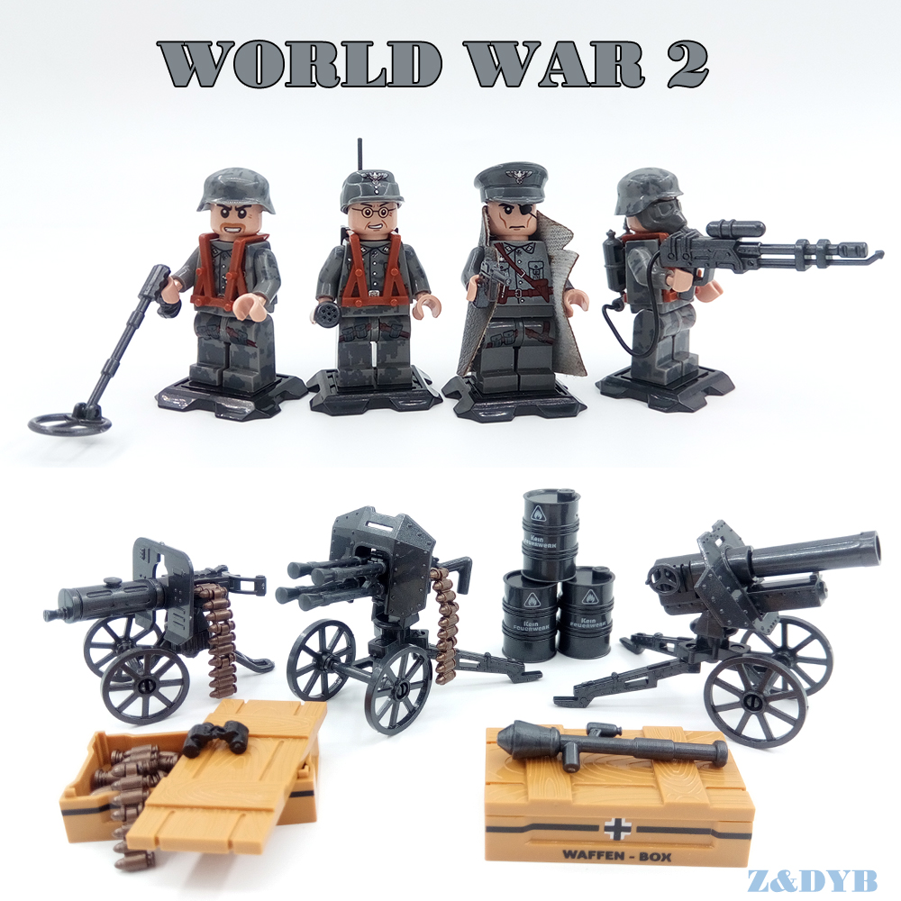 WW2 Figures German USA Army Soldiers Military Scene Series Weapons Gun Action Model Building Block Brick Legoed Toy For Children цена