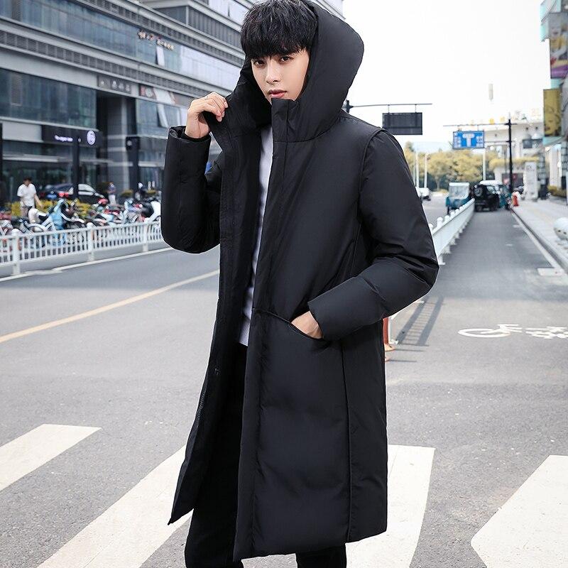 Men Long Jacket Warm Padded Hooded Casual Fashion Winter Parka Outwear Coat