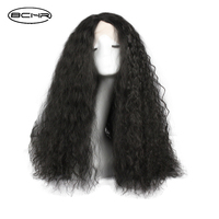 BCHR 24 Inch Kinkly Straight Synthetic Lace Front Wig Black Color With Ombre Bangs crochet hair Heat Resistant For Women