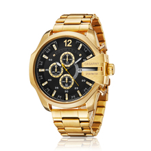 Mens Watches Top Brand Luxury Gold Steel Quartz Wat