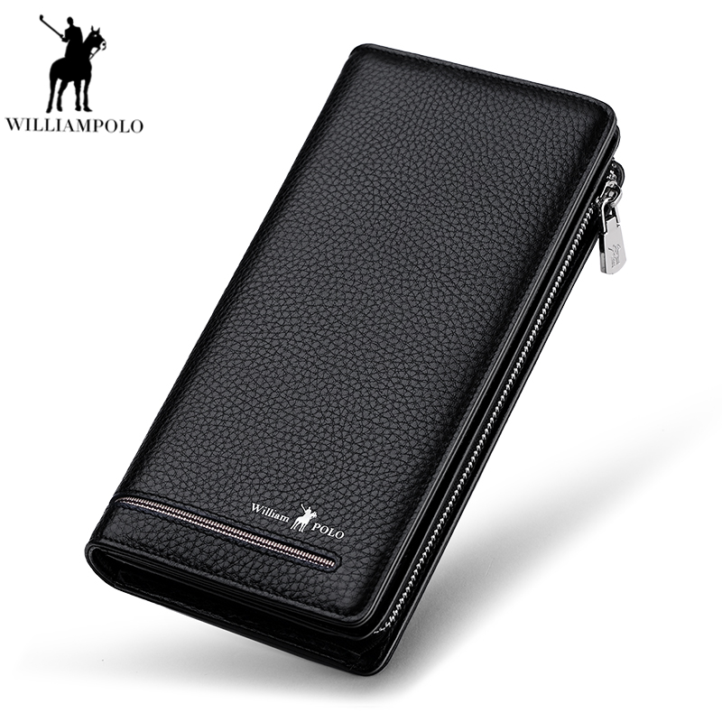 WILLIAMPOLO 2018 Long Genuine Leather Luxury Brand Men Zipper Wallets Long Men Purse Wallet Male Clutch Business Wallet PL219 curewe kerien brand men s genuine leather long zipper purse business wallet handbag
