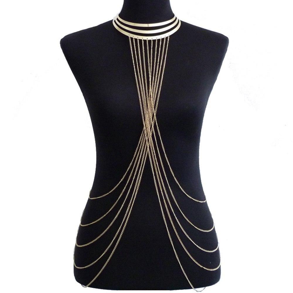 Mulheres sexy em camadas crossover corpo corrente cor ouro multicamadas borla colar bikini cintura barriga corrente boho praia corpo jóias
