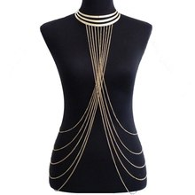 Sexy Lady's Body Chain Golden Elegant Summer Layered Crossover Sexy Multilayer Bikini Waist Belly Chain Boho Beach Body Jewelry layered faux pearl body chain