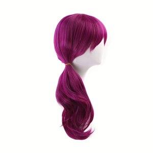 Image 5 - Парик женский длинный жаропрочный из синтетических волос, к/да, Эвелинн, красновато фиолетовый