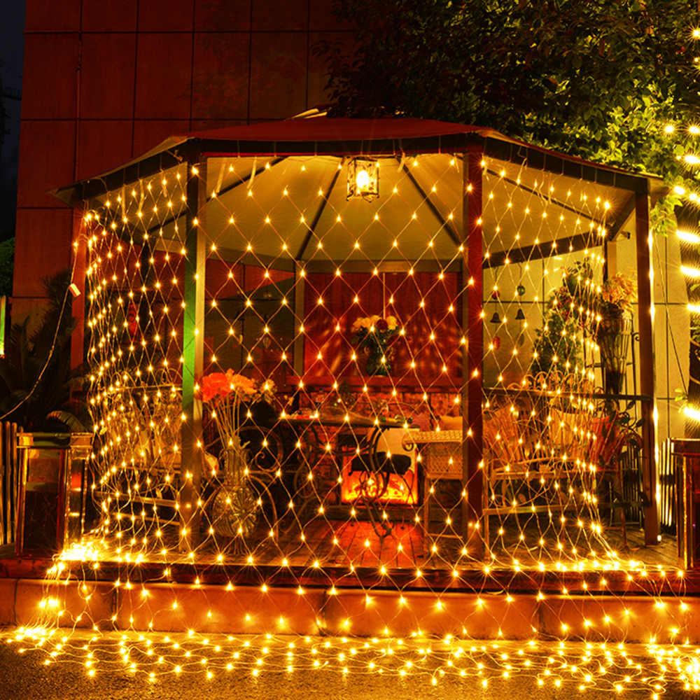 size 40 8f1e7 2d929 LED Curtain Net Lights fairy string holiday lights Web twinkle lamp 8 modes  Xmas Tree Wedding Garland Party Decor 220V EU Plug
