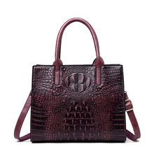Crocodile Pattern Women Genuine Leather Bags Vintage Fashion Alligator Luxury Handbags Women Tote Bags Designer Shoulder Bag fashion two way designer genuine alligator skin ladies women pink day clutches exotic crocodile leather wristlets card case bag