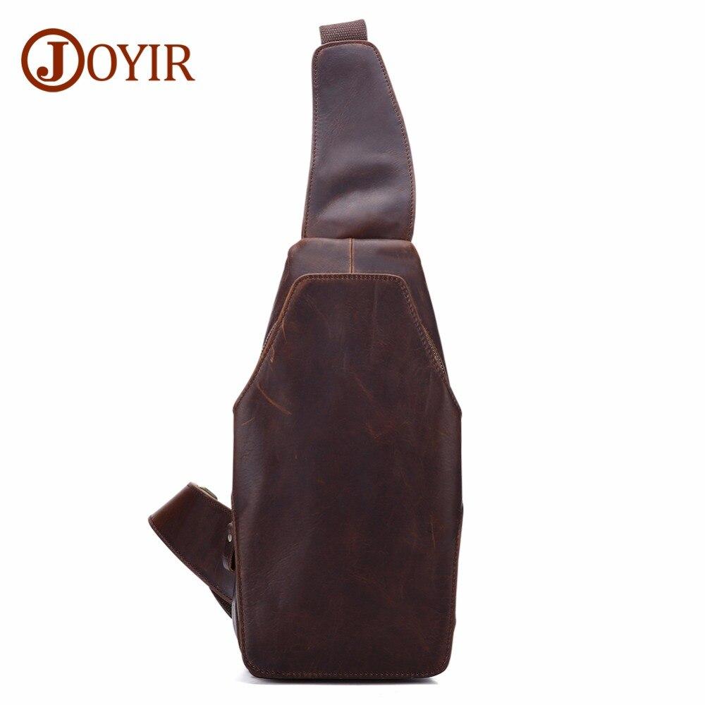 JOYIR Men Chest Bags Single Shoulder Bag Strap Back Genuine Leather Travel Crossbody Vintage Pack For