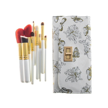 9pcs Portable Gold Butterfly Goat Hair Makeup Brushes Kit  Cosmetic Tool Powder Contour Eye Shadow Lip Brush Set of Tools