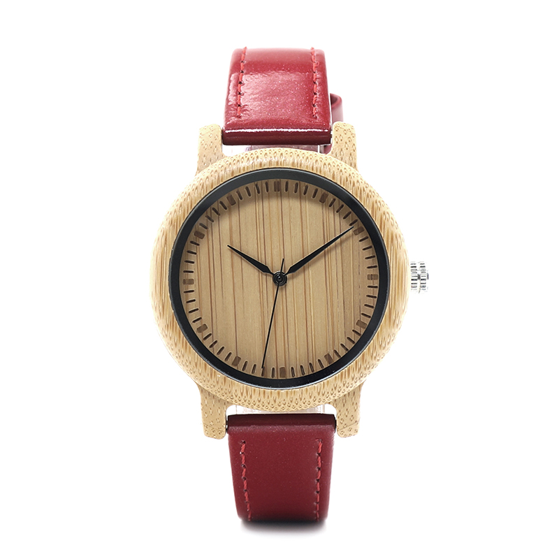 Image 4 - BOBO BIRD WJ09 Simple Style Bamboo Women Watch Bamboo Dial Genuine Red PU Leather Band Quartz Watches Relojes mujer Accept OEMmujermujer reloj  -