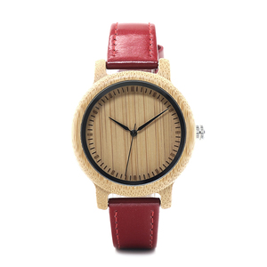 Image 4 - BOBO BIRD WJ09 Simple Style Bamboo Women Watch Bamboo Dial Genuine Red PU Leather Band Quartz Watches Relojes mujer Accept OEM