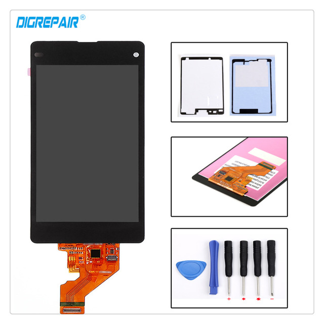 100% Brand New Black For Sony Xperia Z1 Mini Compact D5503 M51W Touch Digitizer LCD Screen Display Glass Assembly+Tools+Adhesive