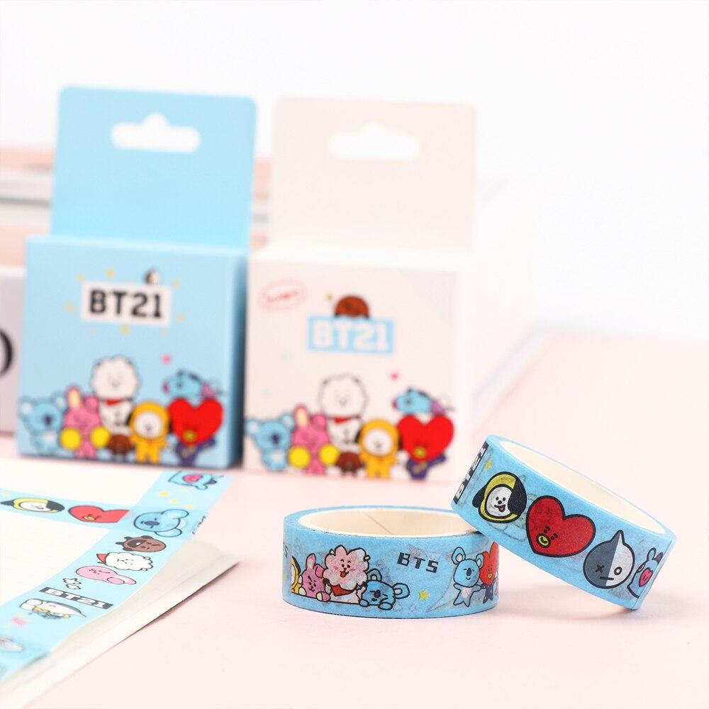 5m Bts Bt21 Cute Washi Tape Cooky Tata Paper Scrapbook Sticker Diy