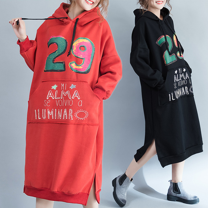 Plus Size 5XL NEW Autumn Winter Women European Fashion Letter Print Tops Lady Female Big Long Warm Thick Loose Sweatshirt Dress