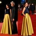 Imitação único Duas Peças de Celebridades Vestidos de Noite Da Celebridade Tapete Vermelho Preto Amarelo Vestido 2016 Barato Cetim Partido Vestidos ED07