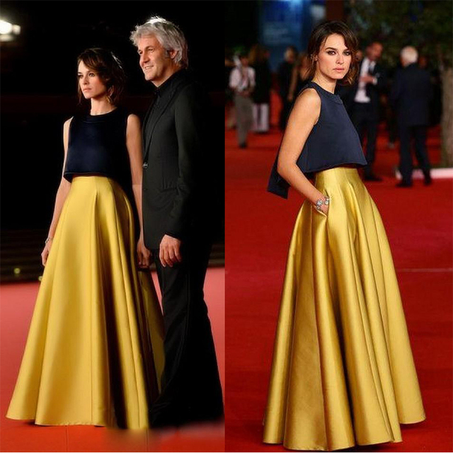 Unique Imitation Two Piece Celebrity Dresses Red Carpet Celebrity Evening Black Yellow Dress 2016 Cheap Satin Party Gowns ED07