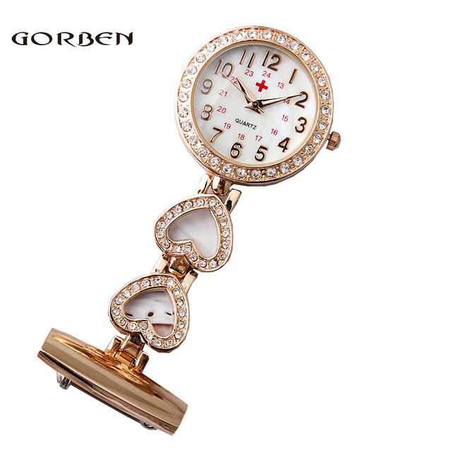 0cab07faa Fashion Ladies Classic Arabic Numerals Pocket & Fob Watches Stainless Steel  Brooch Nurse Watch Women gifts relogio feminino
