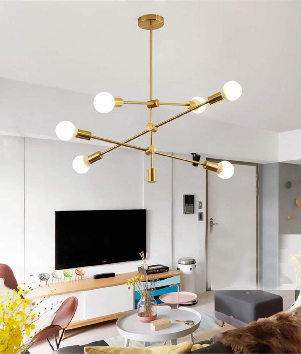 Modern Chandeliers Sputnik Mount Ceiling Light Mid Century Brushed Nickel Glass Pendant Lighting Fixture for Bedroom